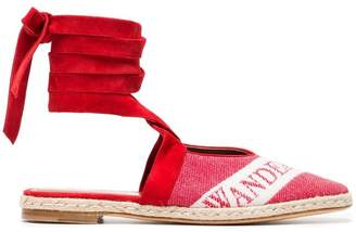 J.W.Anderson Ruby Red 25 Logo Ballerina Leather Espadrilles
