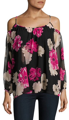 Calvin Klein Calvin Klein Floral-Print Long-Sleeve Cold-Shoulder Top