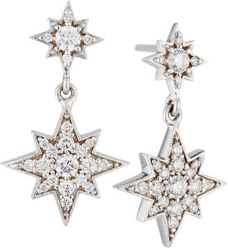 Penny Preville 18k Pave Diamond Double Starburst Drop Earrings