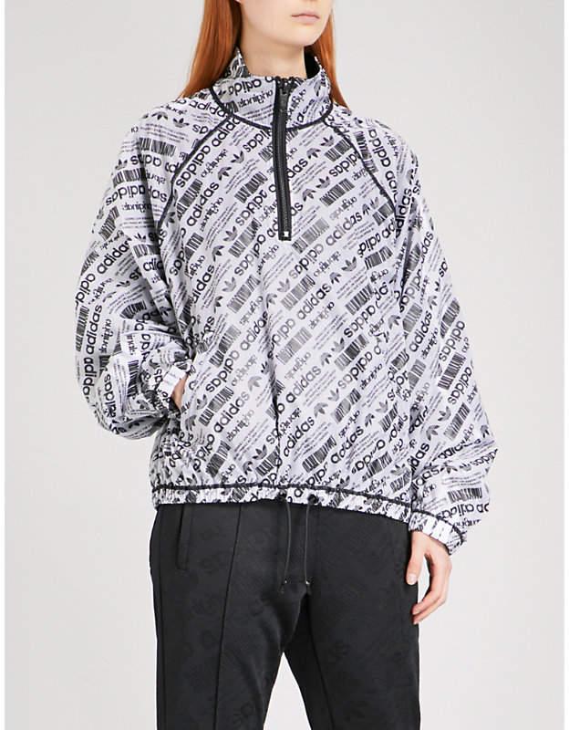 Adidas X Alexander Wang Ladies White Logo-Print Sports Mesh Shell Coat