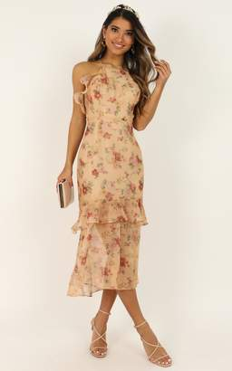 Showpo We Believe In Beauty Dress in peach floral - 4 (XXS) The
