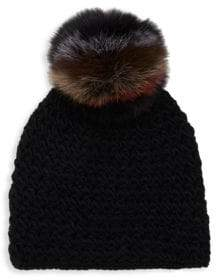 Surell Fox Fur Pom-Pom Hat