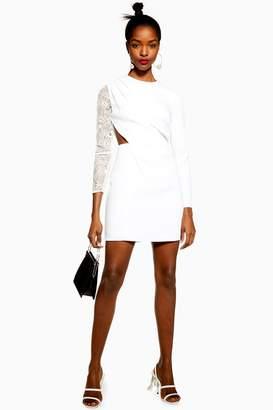 Topshop Womens Lace Insert Mini Dress - White