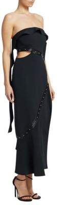 Jonathan Simkhai Crochet Leather Trim Strapless Dress