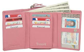Tresori Women's Real Leather RFID Data Protected Multiple Pocket Wallet-STAR DESIGN