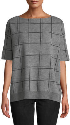 Lafayette 148 New York Boat-Neck Short-Sleeve Oversized Check Jacquard Sweater