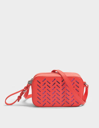 HUGO BOSS Taylor Lasered Crossbody Bag in Bright Red Lasered Saffiano Printed Calfskin