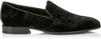 Jimmy Choo SAUL Black Crushed Velvet Slipper Shoes