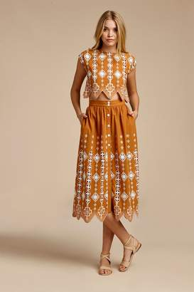 Miguelina Carolyn Aztec Eyelet Skirt