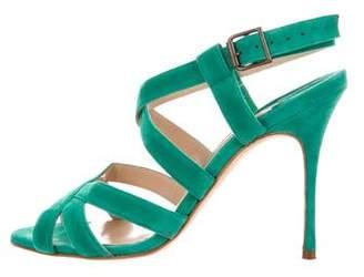 Manolo Blahnik Suede Multistrap Sandals