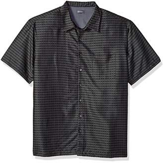 Van Heusen Men's Size Big and Tall Short Sleeve Rayon Poly Engineered Panel Shirt