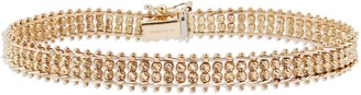"""Imperial Gold 7-1/4"""" Woven Sparkle Bead Bracelet, 14K, 13g"""