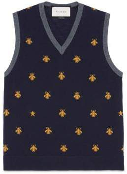 Gucci Wool waistcoat with bees and stars