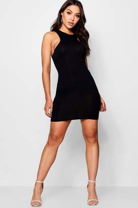boohoo Racer Neck Jersey Bodycon Dress