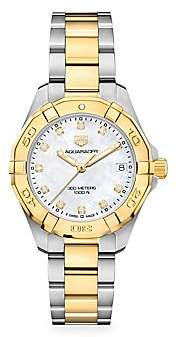 Tag Heuer Aquaracer 32MM Stainless Steel, Yellow Goldplated, Diamond & Mother-of-Pearl Quartz Bracelet Wat
