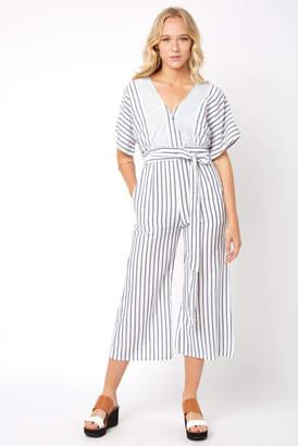 Elan International Short Sleeve Mixed Striped Tie Back Jumpsuit