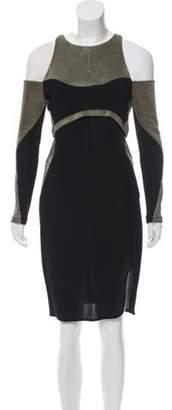 Esteban Cortazar Metallic-Accented Cold-Shoulder Dress Green Metallic-Accented Cold-Shoulder Dress