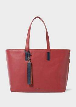 Paul Smith Women's Raspberry Red Leather Tote Bag