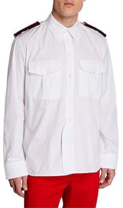 Calvin Klein Men's Flap-Pocket Shirt with Two-Tone Epaulets