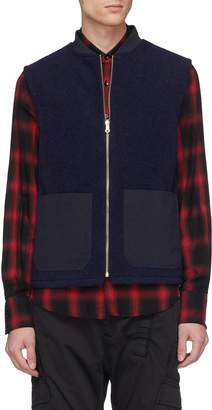 The Workers Club Contrast twill pocket wool melton zip gilet