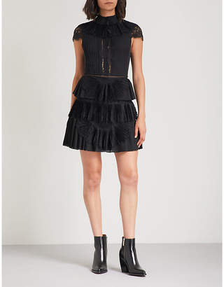 Alice + Olivia Alice & Olivia Rosetta lace-panelled pleated chiffon mini dress