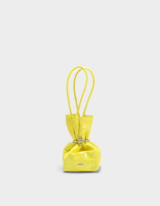 Kenzo Micro Cinch Bag in Citron Wendy Lux Croco
