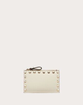 Valentino Garavani Rockstud Calfskin Coin Purse And Cardholder Women Light Ivory Calfskin 100% OneSize