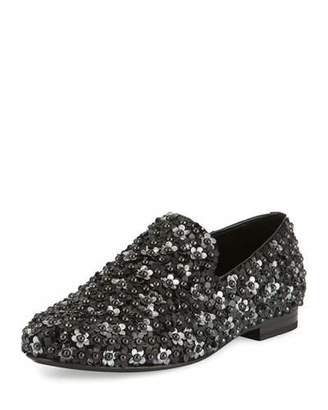 Jimmy Choo Sloane Men's Floral-Stud Slipper, Black $1,595 thestylecure.com