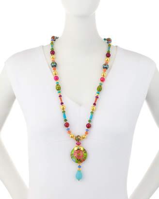 Jose & Maria Barrera Long Bright Cloisonne Y-Drop Necklace