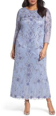 Plus Size Women's Pisarro Nights Floral Motif Embellished Long Dress $256 thestylecure.com