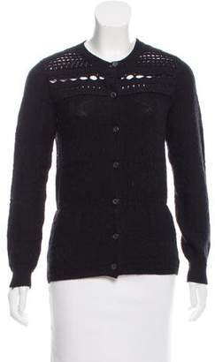 Prada Open Knit Button-Up Cardigan