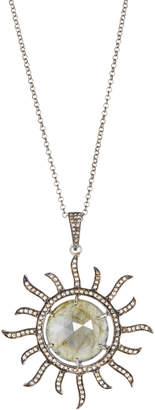 Bavna Diamond & Labradorite Sun Pendant Necklace