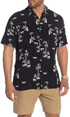 Barney Cools Holiday Short Sleeve Print Woven Hawaiian Shirt