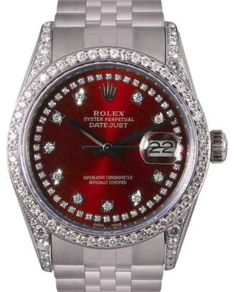 Rolex Datejust Stainless Steel Red String Diamond Dial, Lugs & Bezel 36mm Mens Watch
