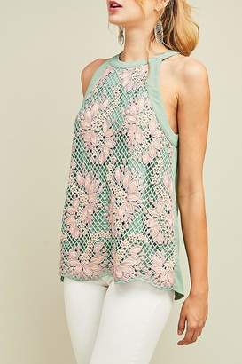 Entro Embroidered Mint Haltertop