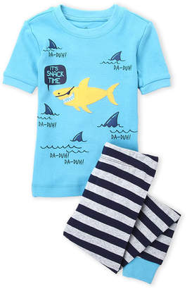 Petit Lem Toddler Boys) Two-Piece Shark Tee & Stripe Pants Pajama Set