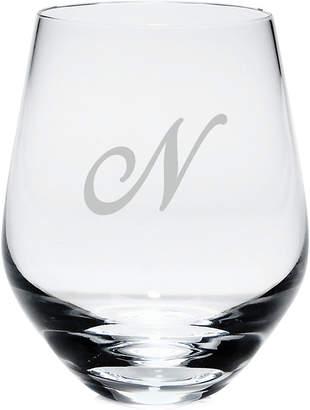 Lenox Tuscany Monogram Stemless White Wine Glasses, Set of 4, Script Letters