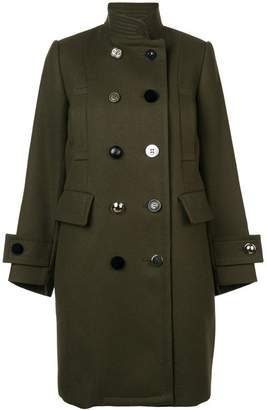 Sacai Army Green Wool Double Breasted Coat