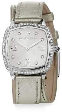 David Yurman Albion 27MM Metallic Leather Swiss Quartz Watch with Diamonds