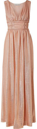 Rachel Zoe Madison Metallic Knitted Maxi Dress - Peach