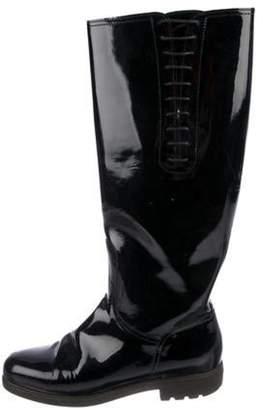Salvatore Ferragamo Patent Leather Knee-High Boots Black Patent Leather Knee-High Boots