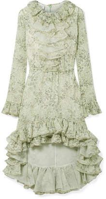 Asymmetric Ruffled Printed Silk-georgette Dress - Mint Giambattista Valli j8d6G