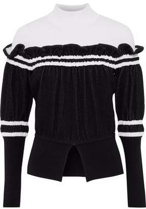 3.1 Phillip Lim Ruffled Two-Tone Knitted Turtleneck Sweater