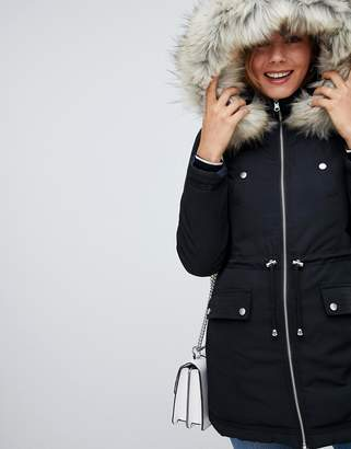 Miss Selfridge padded parka coat in black