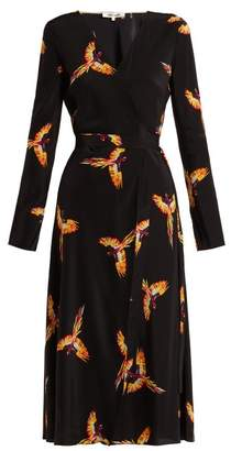 Diane Von Furstenberg - Tilly Parrot Print Silk Crepe De Chine Wrap Dress - Womens - Black Print