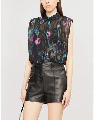 The Kooples Sleeveless abstract-print chiffon shirt