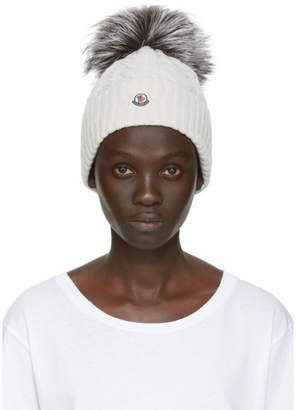 Moncler Grey Fur Cable Pom Pom Beanie