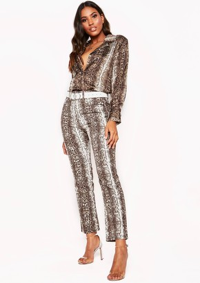 Missy Empire Brown Snake Print Denim Jeans