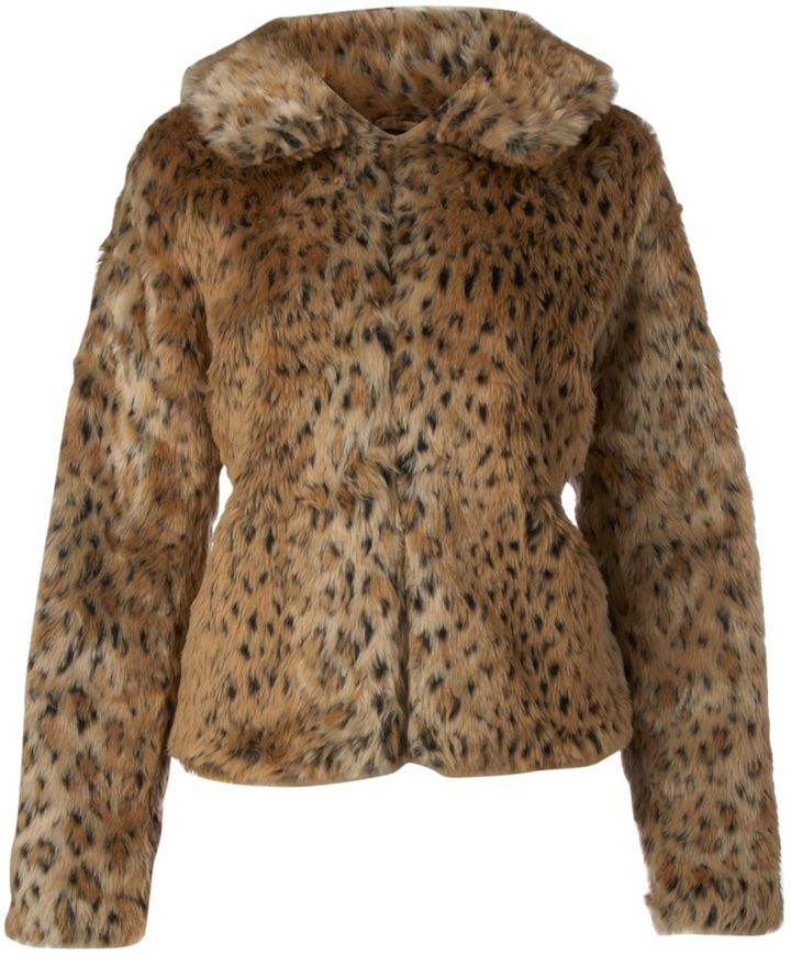 Women's Ichi Leopard print faux fur coat