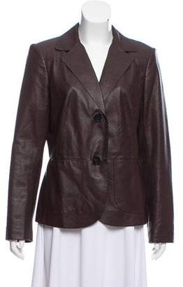 Lafayette 148 Leather Long Sleeve Blazer